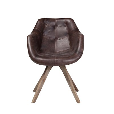 Arpana Genuine Leather Upholstered Dining Chair Color: Brown