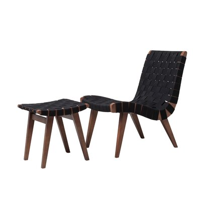 Kistner Woven Lounge Chair and Ottoman Upholstery: Black