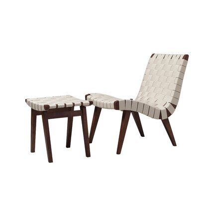 Kistner Woven Lounge Chair and Ottoman Upholstery: White