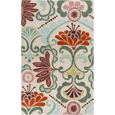 Alhambra Hand Tufted Wool Ivory/Red Area Rug Rug Size: Rectangle 2 x 3