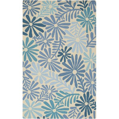 Aura Beige/Blue Indoor/Outdoor Area Rug Rug Size: Rectangle 5 x 76