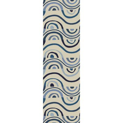 Aura Beige/Blue Indoor/Outdoor Area Rug Rug Size: Runner 26 x 8