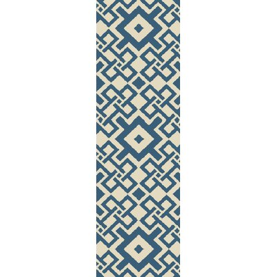 Aura Beige/Teal Indoor/Outdoor Area Rug Rug Size: Runner 26 x 8