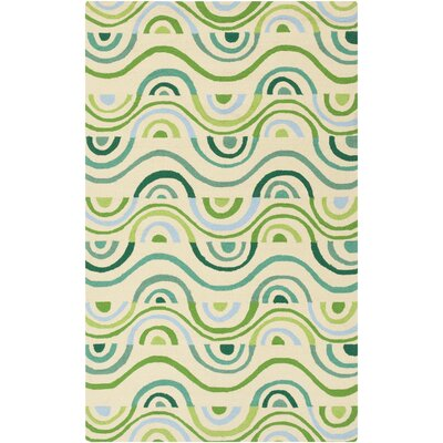 Aura Beige/Green Indoor/Outdoor Area Rug Rug Size: Rectangle 5' x 7'6