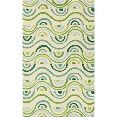 Aura Beige/Green Indoor/Outdoor Area Rug Rug Size: Rectangle 5 x 76