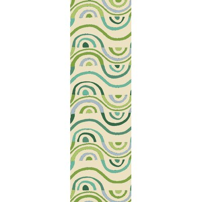 Aura Beige/Green Indoor/Outdoor Area Rug Rug Size: Runner 26 x 8