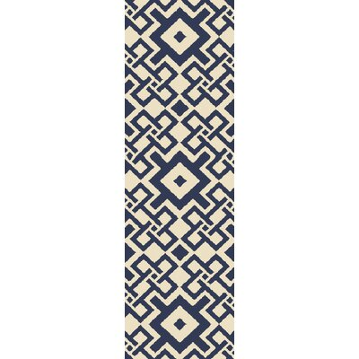 Aura Beige/Cobalt Indoor/Outdoor Area Rug Rug Size: Runner 26 x 8