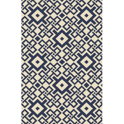Aura Beige/Cobalt Indoor/Outdoor Area Rug Rug Size: Rectangle 5 x 76
