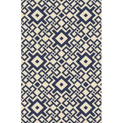 Aura Beige/Cobalt Indoor/Outdoor Area Rug Rug Size: 33 x 53