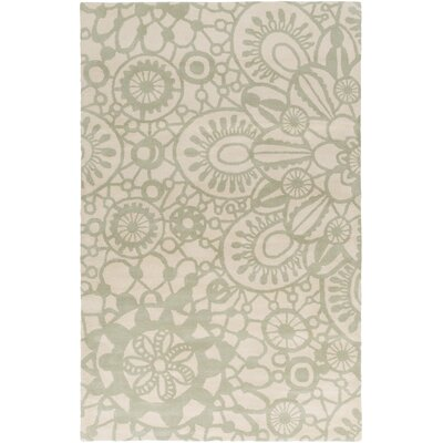 Alhambra Hand Tufted Wool Ivory/Sea Foam Area Rug Rug Size: Rectangle 2 x 3