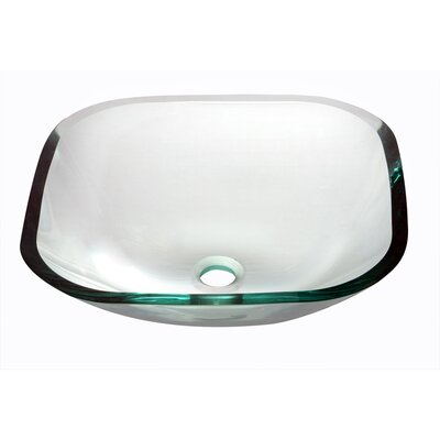 Tempered Glass Square Vessel Bathroom Sink Finish: Clear