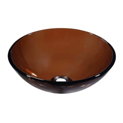 Tempered Glass Circular�Vessel�Bathroom�Sink Finish: Brown