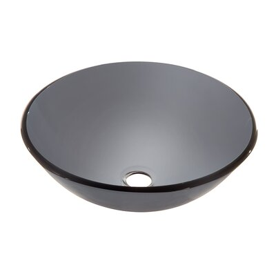 Tempered Glass Circular�Vessel�Bathroom�Sink Finish: Gray