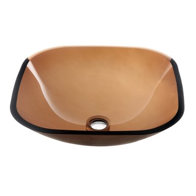 Tempered Glass Square Vessel Bathroom Sink Finish: Brown