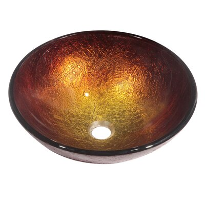 Tempered Glass Circular�Vessel�Bathroom�Sink Finish: Gold and brown