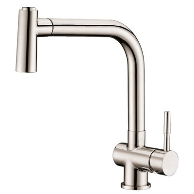 Single Lever Handle Kitchen Faucet with Pull Out Spray Finish: Brushed Nickel