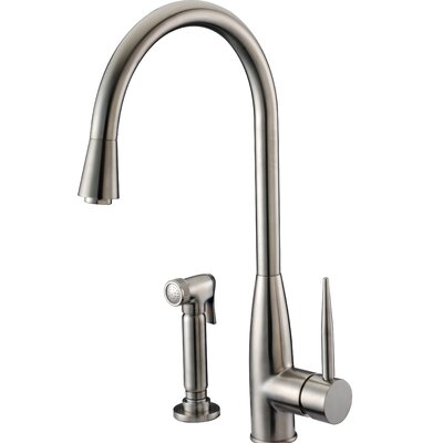 Single Handle Kitchen Faucet with Side Spray Finish: Brushed Nickel