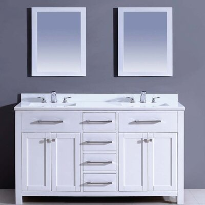 Milan 60 Double Vanity Set with Mirror