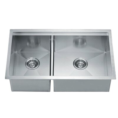 32 x 19 Under Mount Square Double Bowl Kitchen Sink