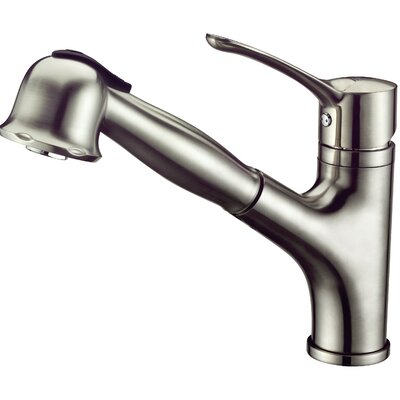 Single Handle Deck Mount Kitchen Faucet with Pull-Out Spray Finish: Brushed Nickel