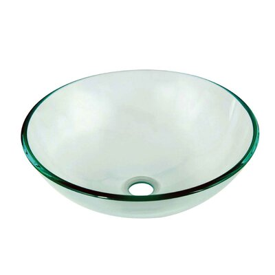 Tempered Glass Circular�Vessel�Bathroom�Sink Finish: Clear
