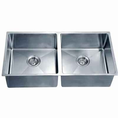 34.19 x 17.19 Under Mount Small Corner Radius Equal Double Bowl Kitchen Sink