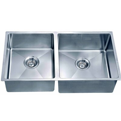31.88 x 17.19 Under Mount Small Corner Radius Double Bowl Kitchen Sink