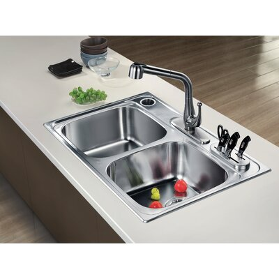 33 x 22 Top Mount Equal Double Bowl Kitchen Sink