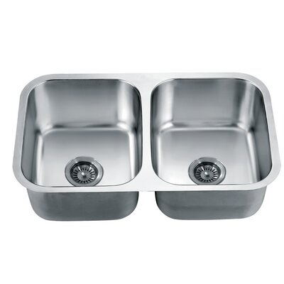 30.75 x 18.5 Under Mount Equal Double Bowl Kitchen Sink