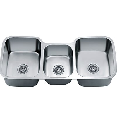 45.88 x 20.88 Under Mount Triple Bowl Kitchen Sink