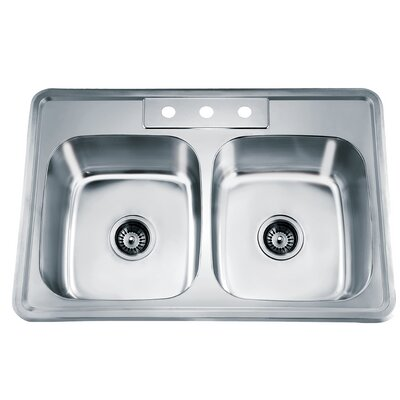 33.13 x 22 Top Mount Equal Double Bowl Kitchen Sink