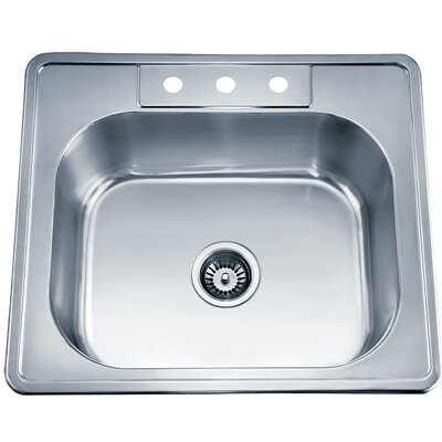 25 x 22 Top Mount Single Bowl Kitchen Sink