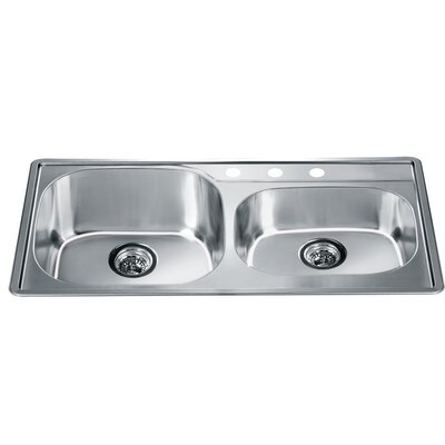 34.25 x 19.13 Top Mount Double Bowl Kitchen Sink