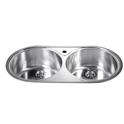 34.25 x 18.13 Top Mount Round Equal Double Bowl Kitchen Sink