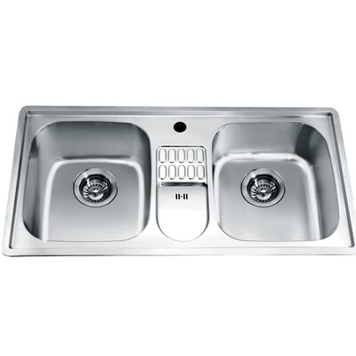 38.75 x 19.13 Top Mount Equal Double Bowl Kitchen Sink