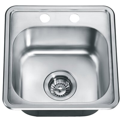 15.25 x 14.88 Top Mount Single Bowl Kitchen Kitchen Sink