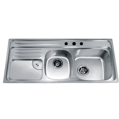 45.88 x 19.88 Top Mount Double Bowl Kitchen Sink