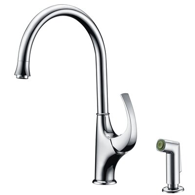 Single Handle Deck Mount Kitchen Faucet with Side Spray Finish: Brushed Nickel