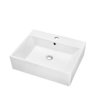 Ceramic 16.13 Wall Mounted Bathroom Sink with Overflow