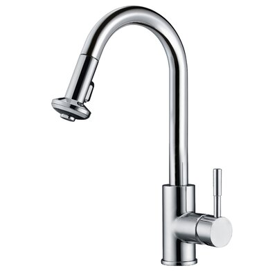 Single Lever Handle Kitchen Faucet with Pull Down Spray Finish: Chrome