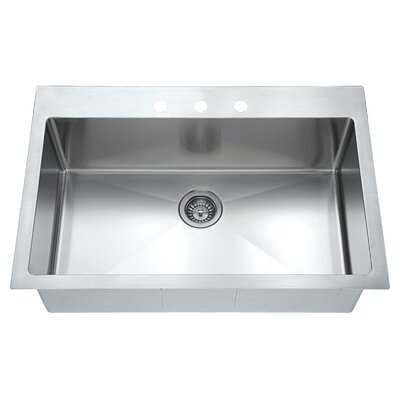 Top Mount 33 x 22 Single Drop-In Kitchen Sink