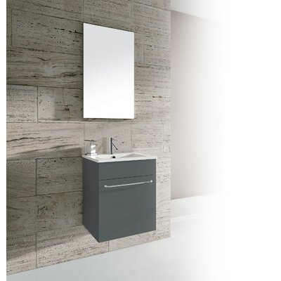 Qubo 16 Single Bathroom Vanity with Mirror Base Finish: Anthracite