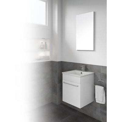 Qubo 16 Single Bathroom Vanity with Mirror Base Finish: White