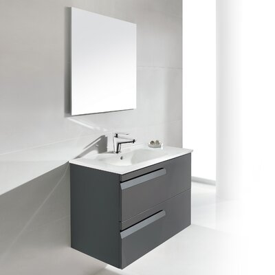 Vitale 24 Single Bathroom Vanity Set with Mirror Base Finish: Anthracite