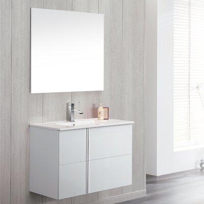 Onix 32 Single Bathroom Vanity Set with Mirror Base Finish: White