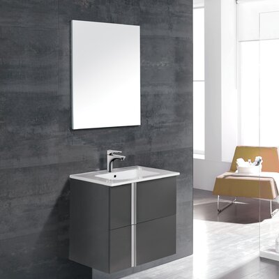 Onix 24 Single Bathroom Vanity Set with Mirror Base Finish: Anthracite