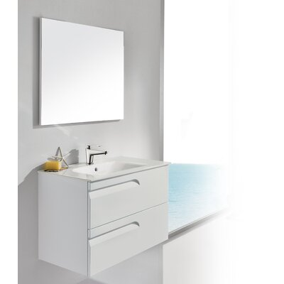 Vitale 32 Single Bathroom Vanity Set with Mirror Base Finish: White