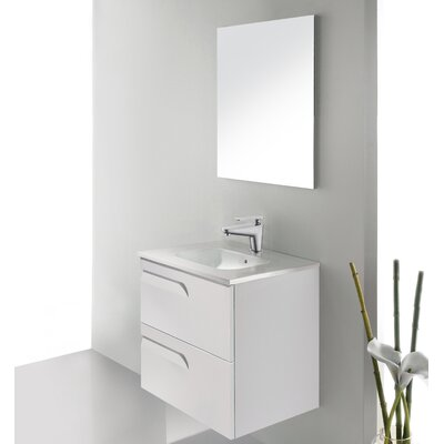 Vitale 24 Single Bathroom Vanity Set with Mirror Base Finish: White