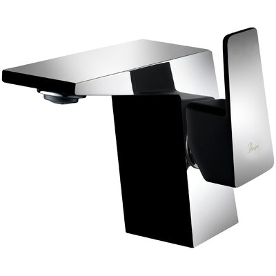 Lavatory Single Hole Single Handle Bathroom Faucet with Drain Assembly Finish: Chrome/Matte Black