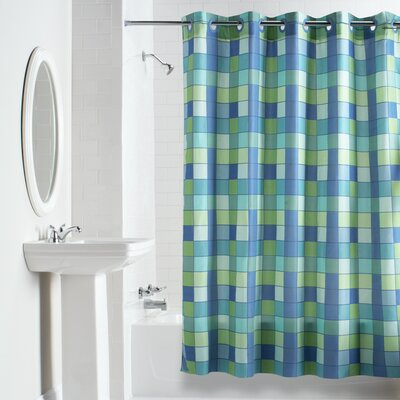 Checkmate Shower Curtain Color: Blue /Green
